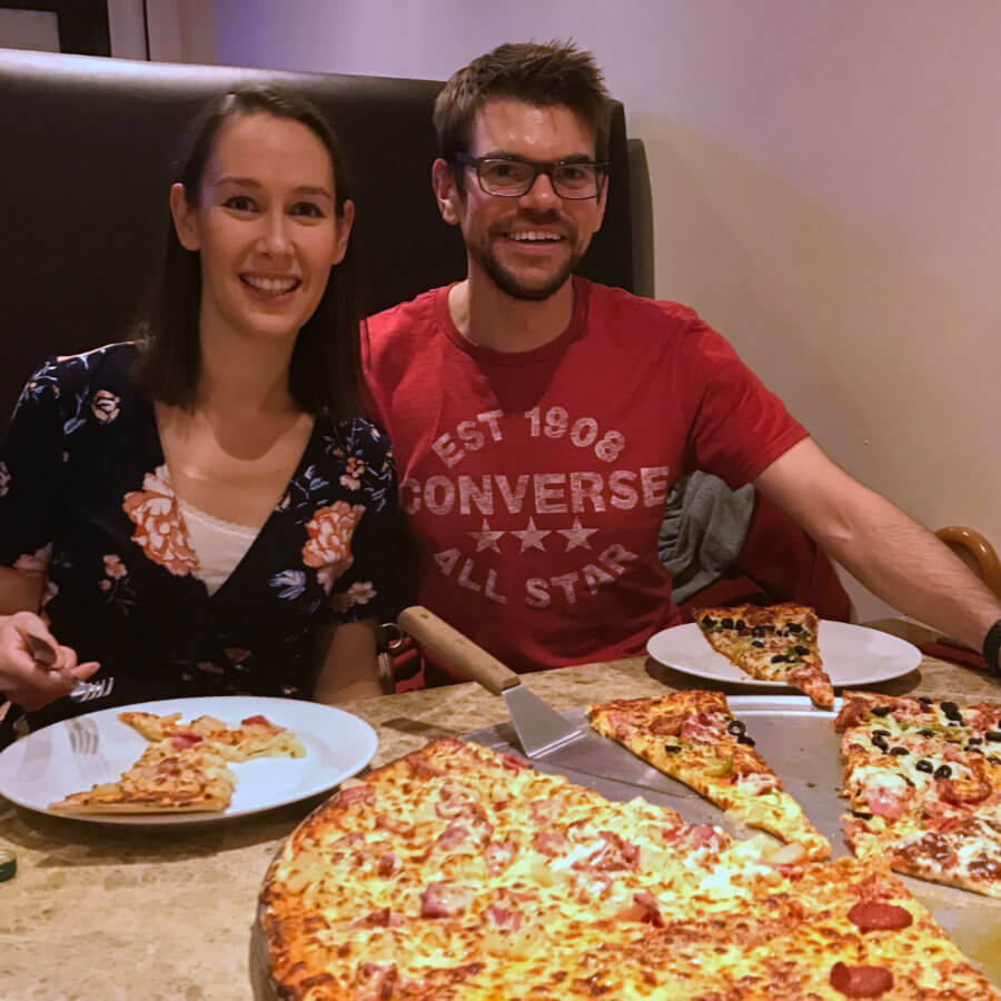 Tanya, Colin and a large pizza