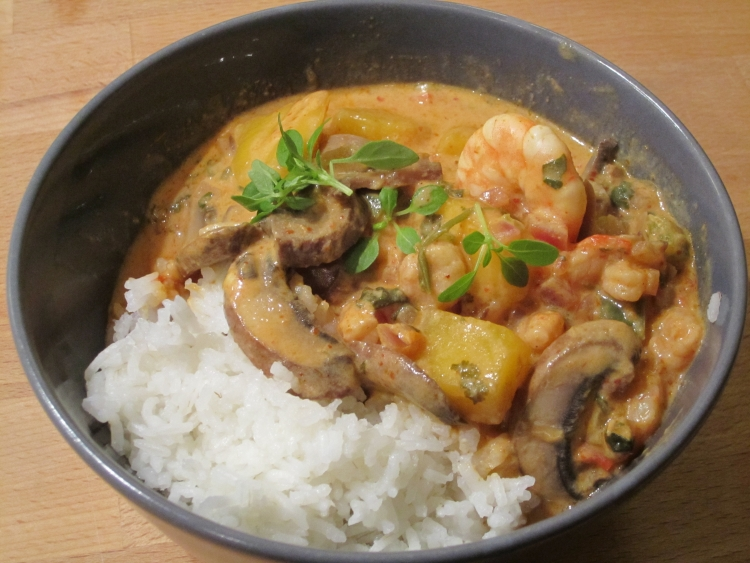 Thai red curry with basmati rice