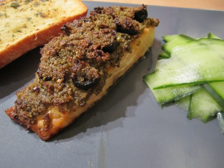 Pesto, olive and breadcrumb topped salmon