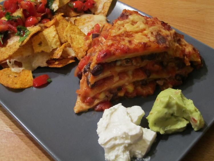Serve with nachos, guacamole, salsa and Greek yoghurt