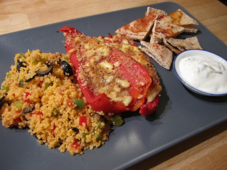 Cous Cous with Stuffed Peppers and Pitta Bread Crisps