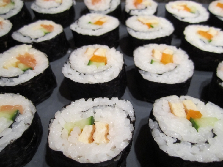 Our finished California rolls, comprising cucumber, egg and pepper
