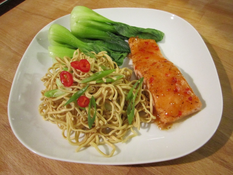 Sweet Chilli Salmon Noodles With Pak Choi