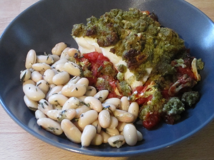 Pesto Topped Cod with Broccoli and Tomatoes